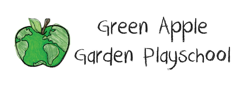 Green Apple Garden Playschool Logo shows a green apple with continents on it so it looks like a globe. Links to: https://www.greenapplegarden.org/contact-us.html