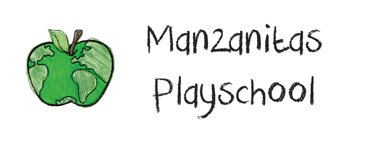 Manzanitas Spanish Immersion Playschool Logo shows a green apple with continents on it so it looks like a globe. Links to: https://www.manzanitasplayschool.org/request-a-tour.html